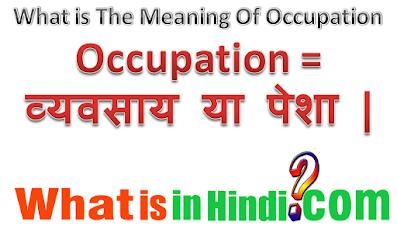 Occupation  का मतलब क्या होता है