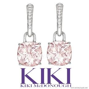 Kate Middleton jewels Kiki McDonough morganite and diamond cushion drop earrings