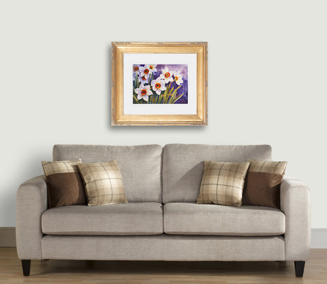 Daffodils original watercolor display idea