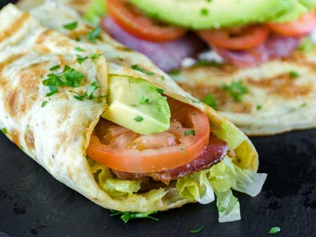 Breakfast Burrito Wrap with Bacon and Avocado