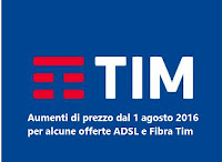 Aumento costo tariffe ADSL e Fibra Ottica Tim