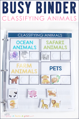 Classifying animals busy binder activity