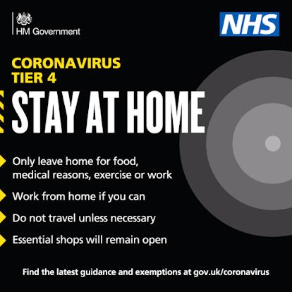 Tier 4 Lockdown Restrictions December 2020 UK Gov Stay At Home