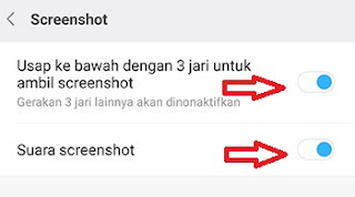 Pengaturan screenshot tanpa tombol