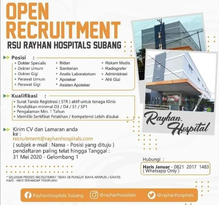 Lowongan Kerja Rumah Sakit Umum Rsu Rayhan Hospitals Bulan Mei 2020 Rekrutmen Lowongan Kerja Bulan Juni 2021