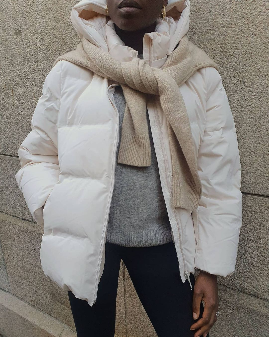 Cozy Winter Neutral Outfit Idea —@chrystelleeriksberger white puffr coat, tan scarf and gray sweater