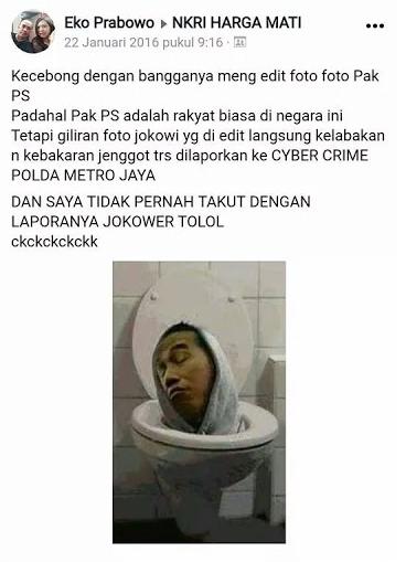 pada 2016 Eko Prabowo juga terciduk membagikan foto editan Presiden Joko Widodo