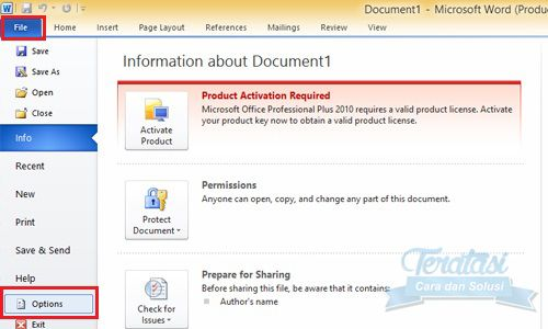 file options microsoft word - cara koreksi salah ketik di microsoft word