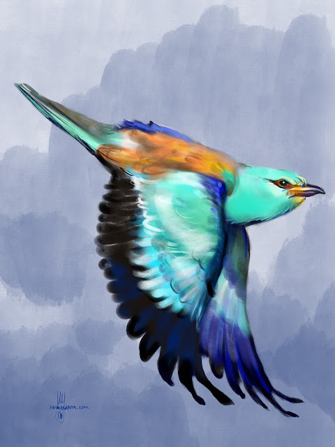 European Roller bird painting by Artmagenta