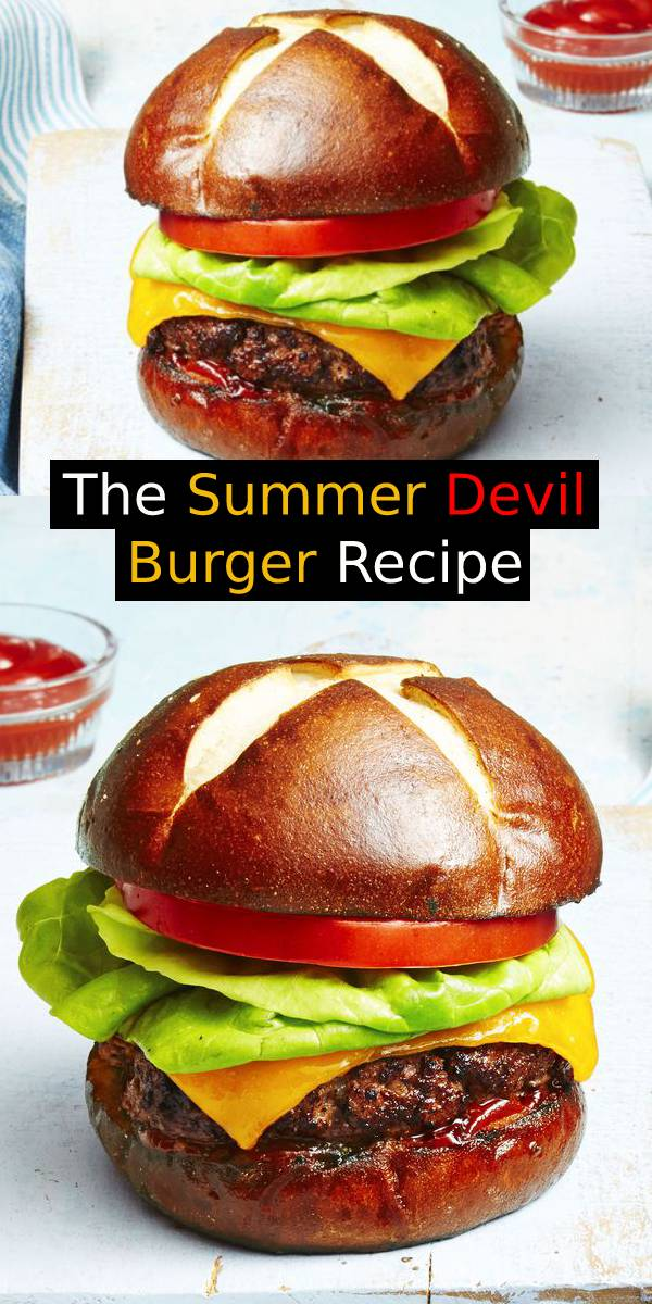 The Summer Devil Burger Recipe - This savory patty paired with a slightly sweet pretzel bun =  burger perfection. Take your burgers to the next level with pretzel buns, horseradish and chile sauce. #burger #burgerrecipe #summerrecipe #summerfood #summer