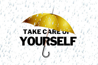 """Umbrella with """"Take Care of Yourself"""""""