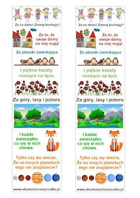Zakładki ekologiczne do książek dla dzieci