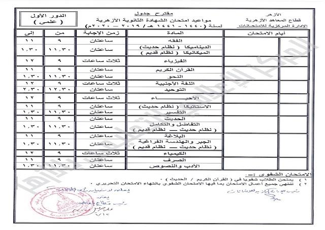 جدول مواعيد امتحان (الشهادة الثانوية الأزهرية) لعام 2020..جدول مقترح