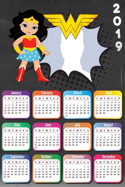 Free Printable Wonder Woman 2019 Calendar.
