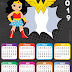 Calendario 2019 de la Mujer Maravilla para Imprimir Gratis.