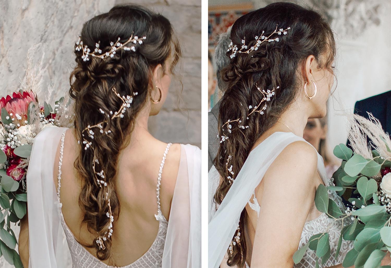Hochzeitsfrisur mit Haarschmuck - Mermaid-Braid