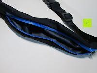 Tasche innen: GHB Doppelfach Sportgürteltasche Bauchtasche Handygürtel ideal für Laufen, Training, Radfahren, Wandern Schwarz