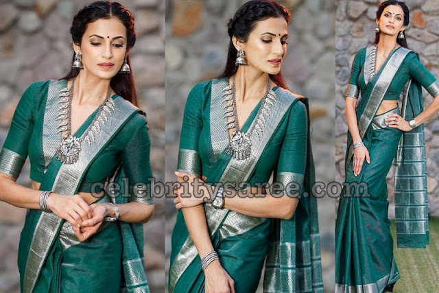 Shilpa Shetty Green Traditional Saree