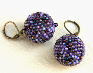 seed bead earrings purple violet beadwork jewelry
