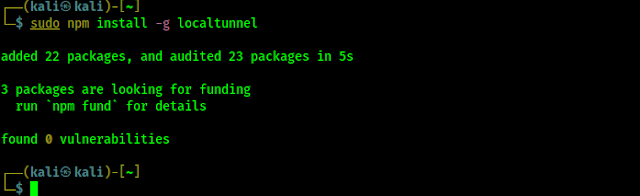 installing localtunnel using node package manager