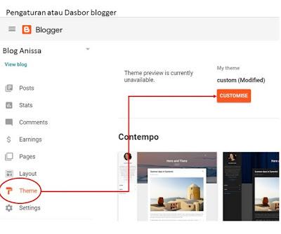 pengaturan dasbor blogger