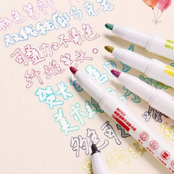 Outline Marker Pen with Double Lines
