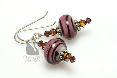 Mocha Raspberry Crystal Lampwork Beaded Earrings (E166)