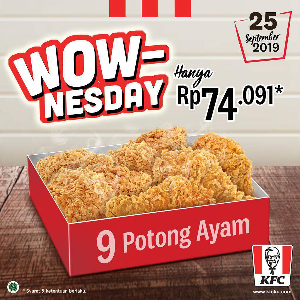 #KFC - #Promo WOWNESDAY 9 Ayam Hanya 74K (25 Sept 2019 ...
