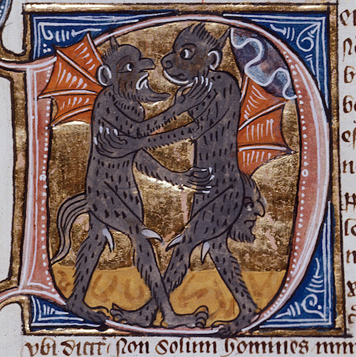 Medieval illumination of hugging demons
