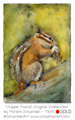 chipmunk painting by miriam schulman | https://www.schulmanart.com