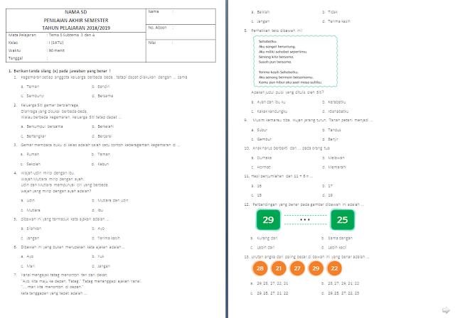 Soal UTS Kelas 1 SD/MI: Tema 5 Subtema 3 dan 4