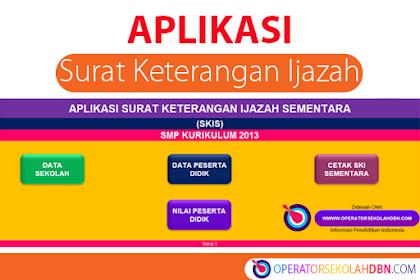 Aplikasi Surat Keterangan Ijazah Sementara Tahun Pelajaran 2019/2020 SMP Kurikulum 2013