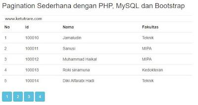 Pagination dengan PHP, MySQL dan Bootstrap