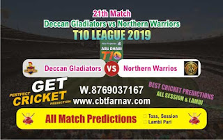 T10 League 2019 NOR vs DEG 21st T10 League 2019 Match Prediction Today Reports