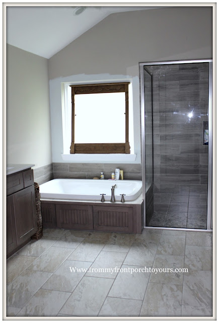 Master Bathroom-Chandelier-Wood Tile-Shower-Tub-From My Front Porch To Yours