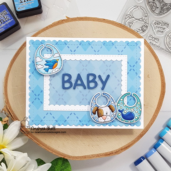Baby Bib Boy Card by Andrea Shell | Bitty Bibs Stamp Set, Baby Bib Die Set, Argyle Stencil Set, Framework Die Set and Frames & Flags Die Set by Newton's Nook Designs #newtonsnook #handmade