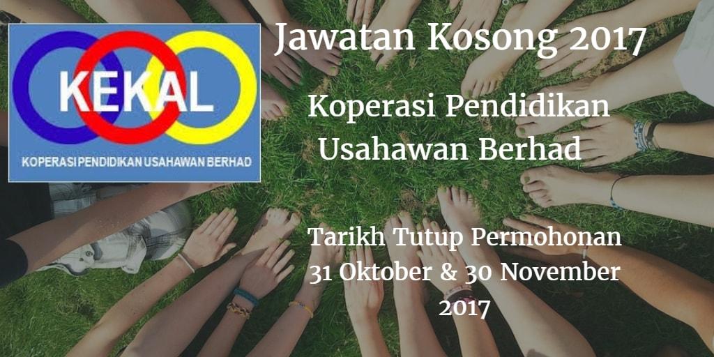 Jawatan Kosong Koperasi Pendidikan Usahawan Berhad 31 Oktober & 30 November 2017
