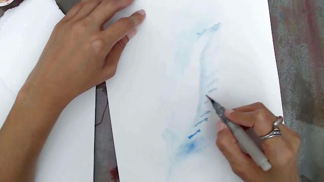 Pintando uma Pena com Aquarela