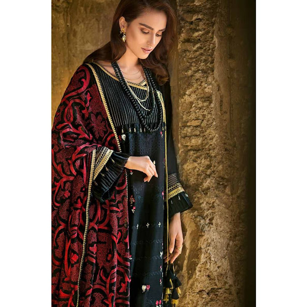 Gul Ahmed lawn black color collection printed embroidered suit