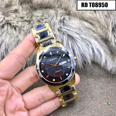 Đồng hồ đeo tay nam mặt tròn dây đá ceramic RD T08950