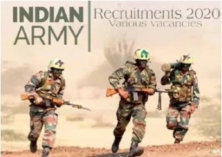 Indian Army Recruitment 2020 various vacancies 10th pass  apply
