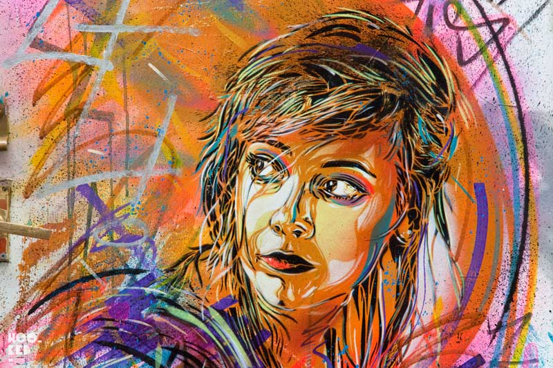 French Street artist C215's stencil work on Bacon Street