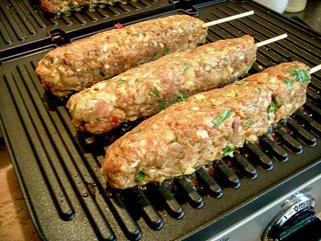 Lamb Kofta Kebabs on Grill