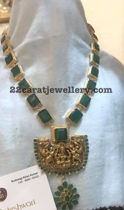 Emerald Necklace from Raja Rajeshwari Jewellers
