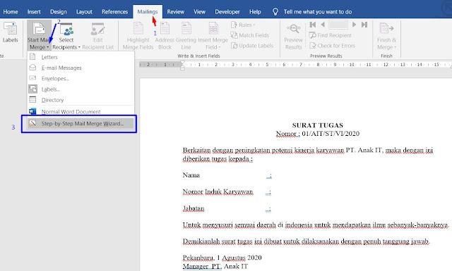 Mailing :  Cara Membuat Mail Merge di Excel ke Word 2007, 2010, 2013, 2016, 2019