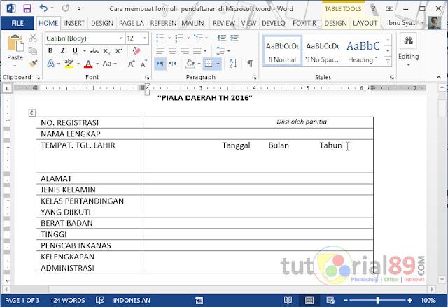 Cara membuat formulir pendaftaran di Microsoft word.