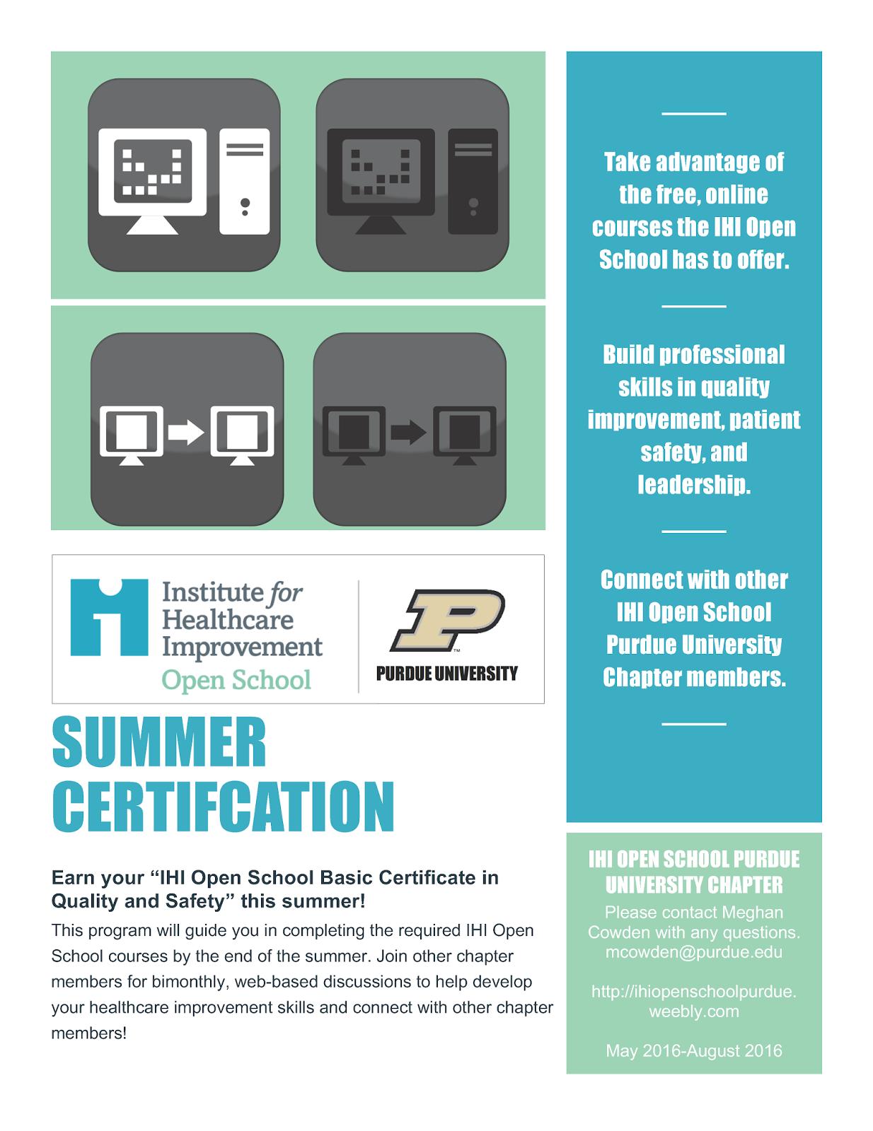 Ihi open school summer certification purdue ie undergrad news ihi open school summer certification 1betcityfo Gallery