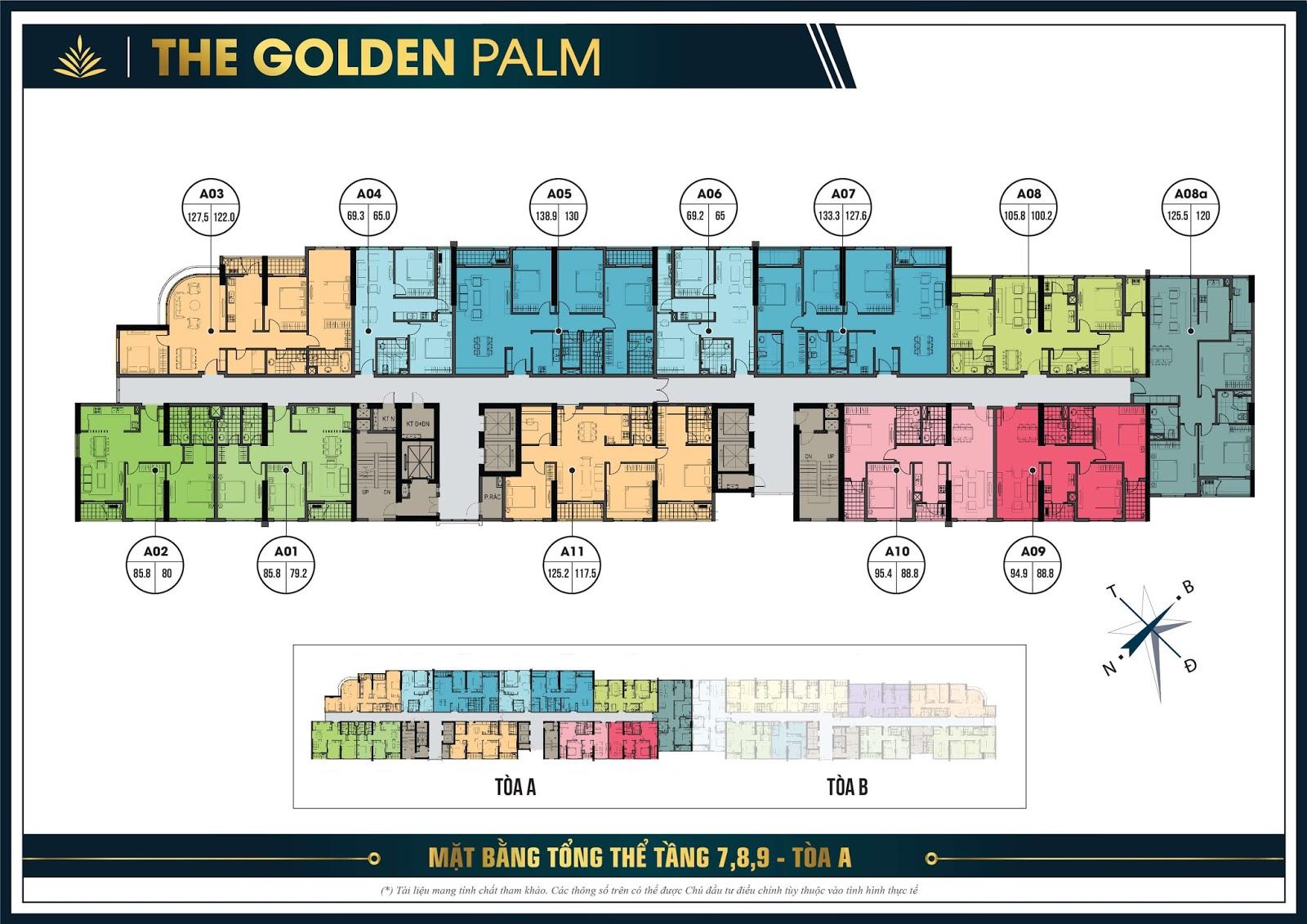Thiết kế mặt bằng căn hộ điển hình tầng 8, 9 tòa A - The Golden Palm