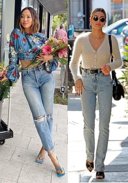 Calças tendência 2020, jeans reta, Aimee Song, Hialey Baldwin Bieber