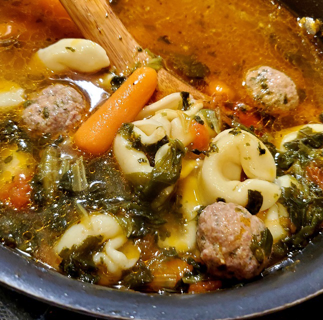 this is a pan of tortellini wedding soup